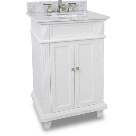 "Transitional 24"" White Finish Vanity Base With White Marble Top"