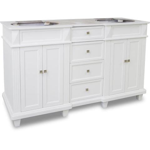 "Transitional 60"" White Finish Vanity Base Without Countertop"