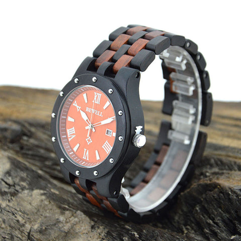 BEWELL Trendy Unique Wood Men Quartz  Watch Waterproof