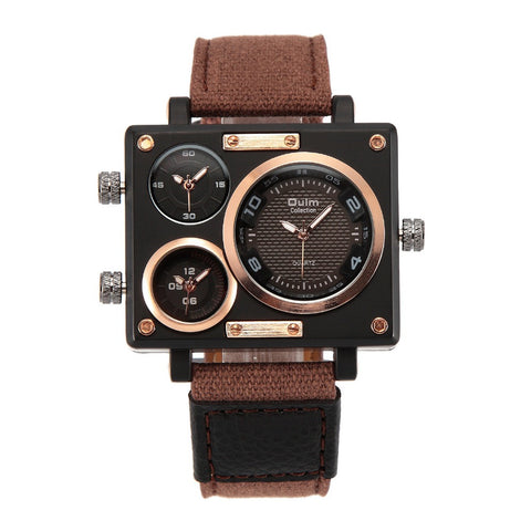 OULM Collection Men's Quartz Watch Rectangle Case 3 Time Zones - MorningWoodWatches