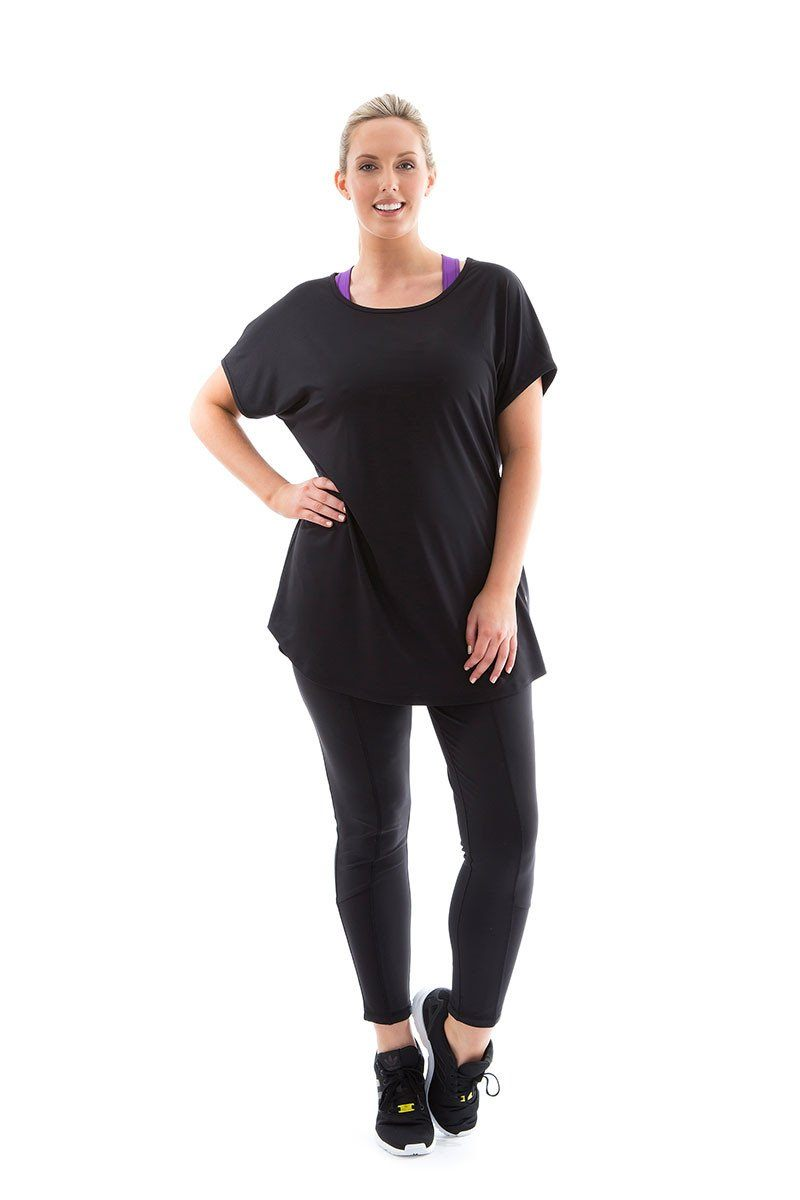 Breathey Tee black with black mesh breathy tee front