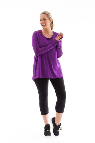 Power Long Sleeve Tee acai with acai mesh power long sleeve tee front
