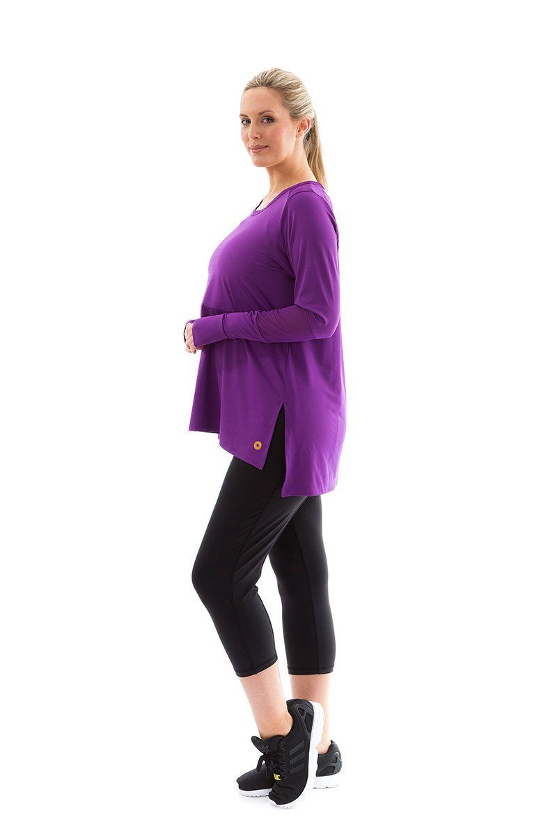 Power Long Sleeve Tee acai with acai mesh power long sleeve tee side