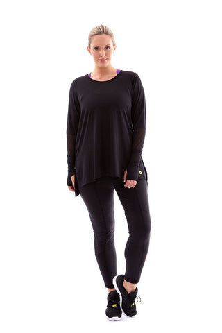 Power Long Sleeve Tee black with black mesh power long sleeve tee front