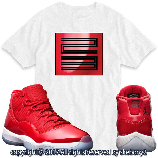Custom T Shirt Matching AIR Jordan 11 Win Like 96 Matching TEE Bulls red JD-11-3-4
