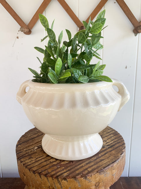 White Planter with Handles