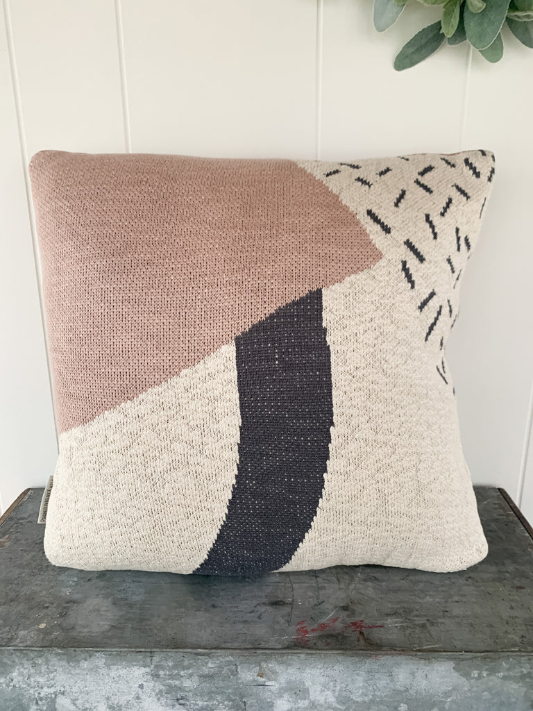 Pink/Grey/White Geometric Pillow