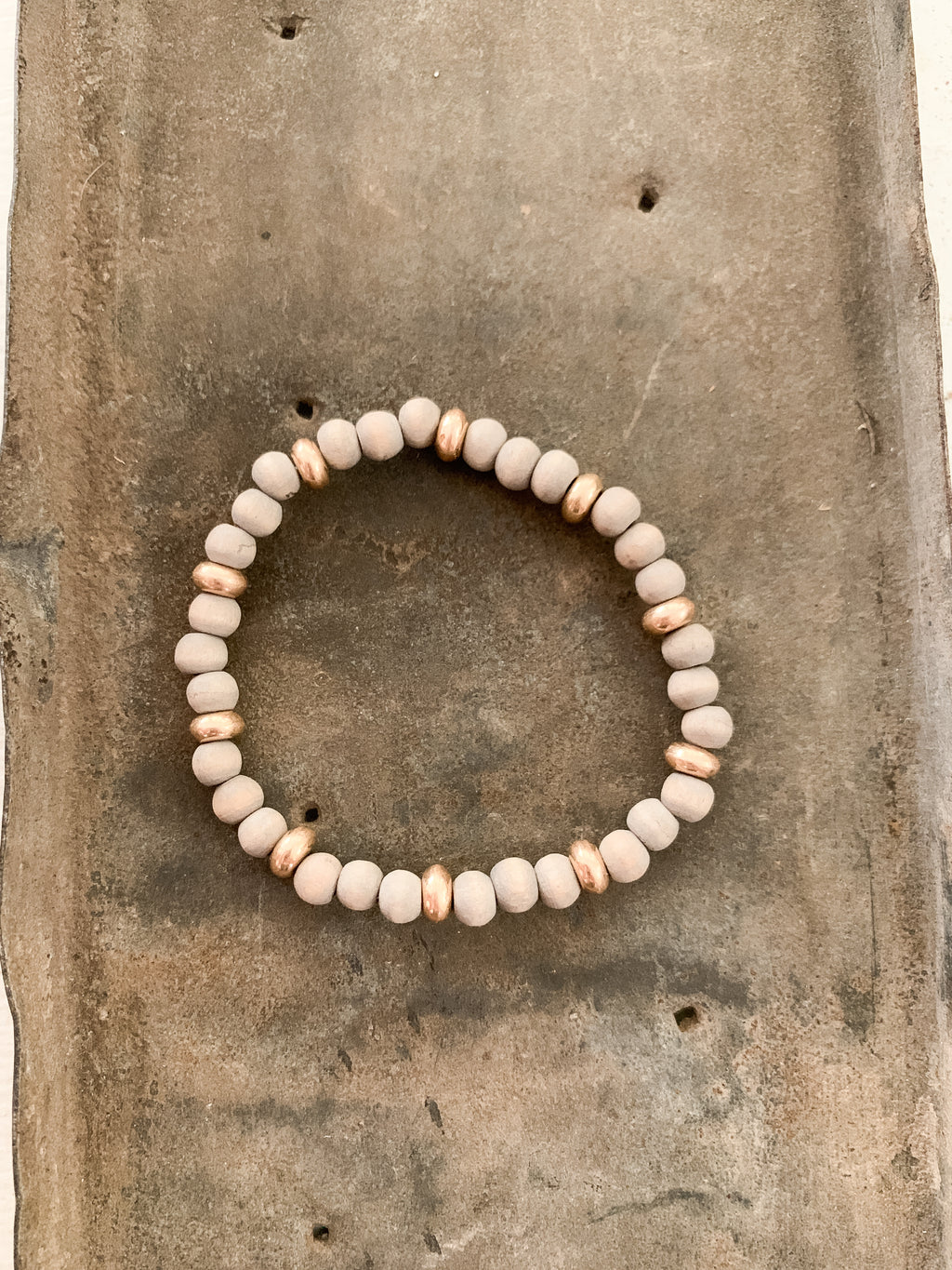 Small Wooden Grey Beaded Bracelet