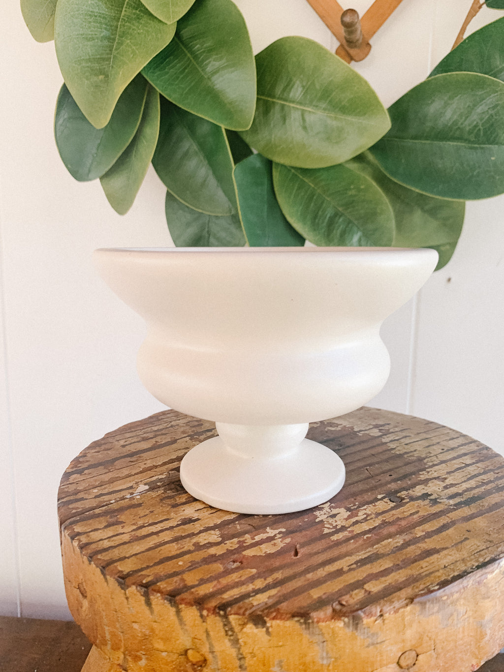 "4 1/2"" Tall White Planter"