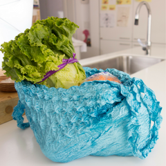 Itty Bitty BIG Bag, Shibori shopping bag, reusable shopping bag, expanding shopping bag.