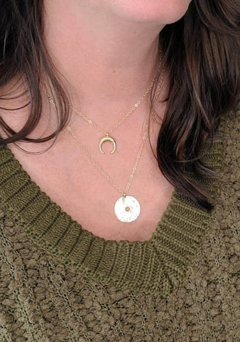 Gold Medallion Double Layer Necklace