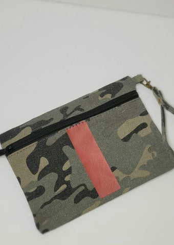 Red Stripe Camo Wristlet Clutch
