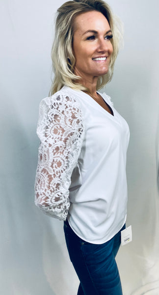 On the Town White Lace Sleeve top