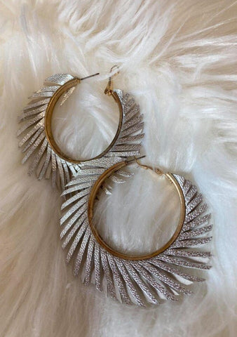 Leather Starburst Hoop Earrings