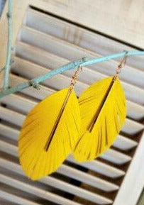 Yellow Leather Feather Earring
