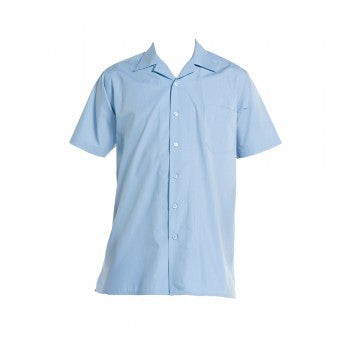 No Longer Available | School Blue <Br>Boys Short Sleeved Open Necked Shirt - Sch Blue Boys Ss O/neck Shirt