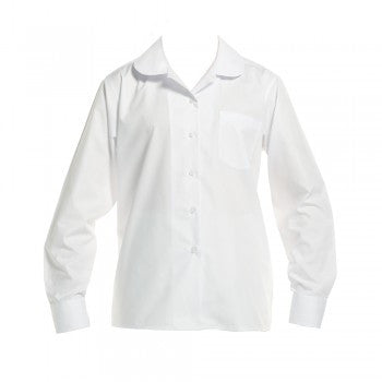 a5a119a6bc6c63 White  Br Girls Long Sleeved Peter Pan Blouse - White Ls Peter Pan Blouse  ...