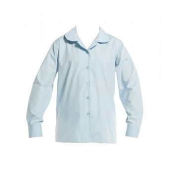 Sky Blue <Br>Girls Long Sleeved Peter Pan Blouse - Sky Ls Peter Pan Blouse
