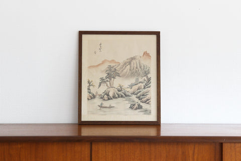 Asian Silk Woodblock Print
