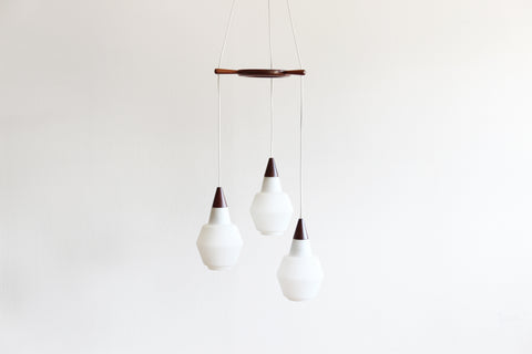 Danish Teak And Opaline Pendant Light