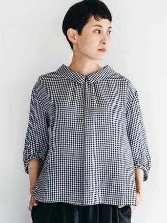 FOG LINEN | ANNIS TOP | BLACK WHITE CHECK