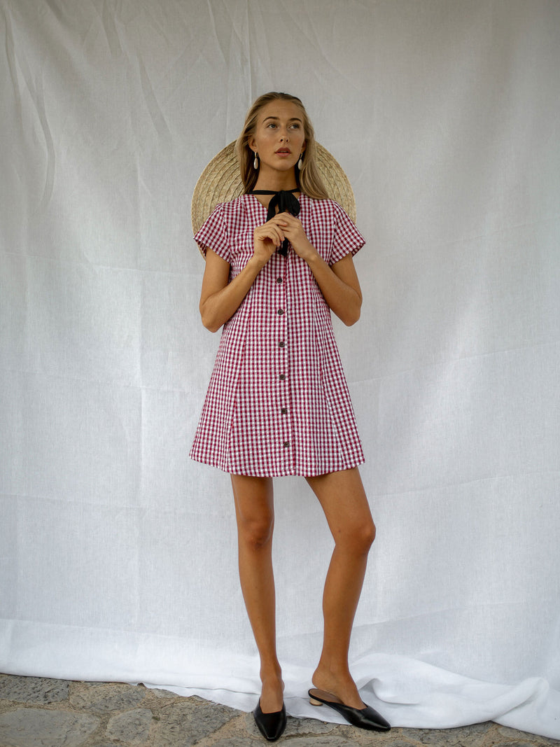 VALENTINA DRESS | WINE GINGHAM