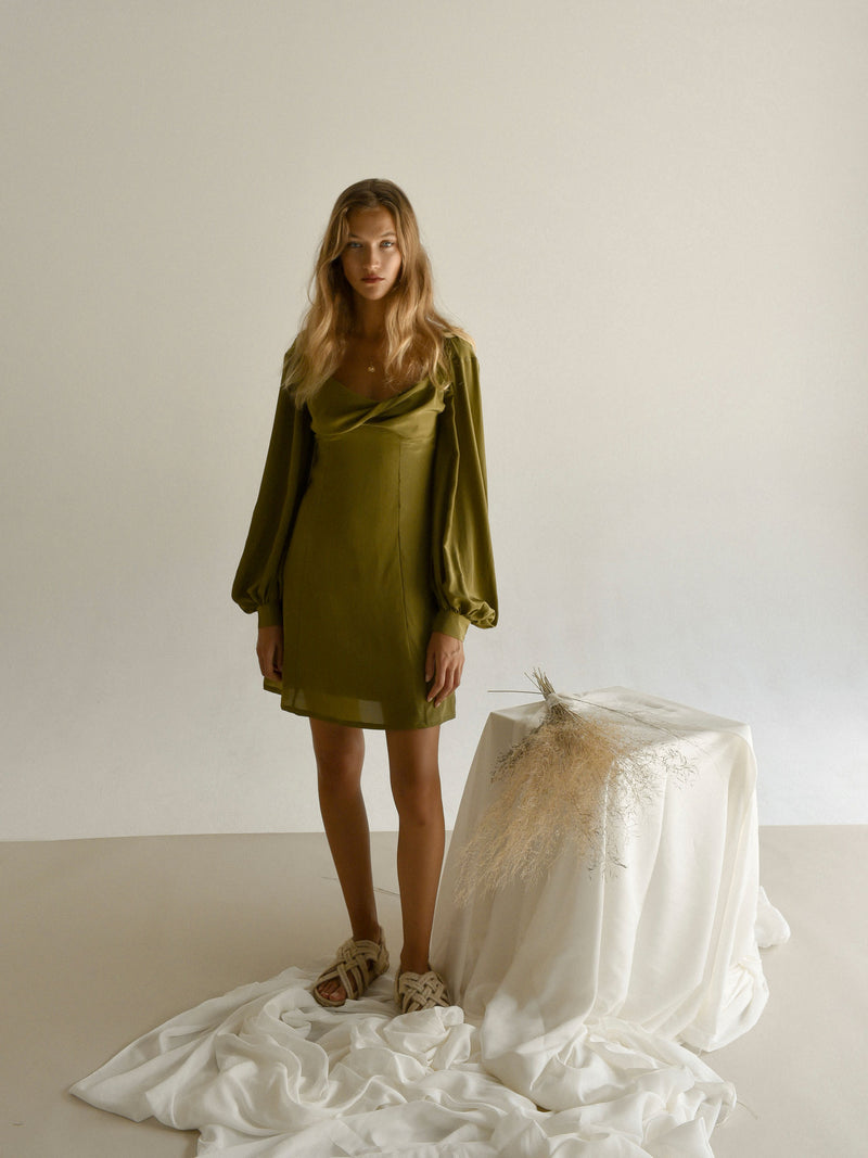 PRE-ORDER | DAPHNÉ DRESS | MARTINI OLIVE