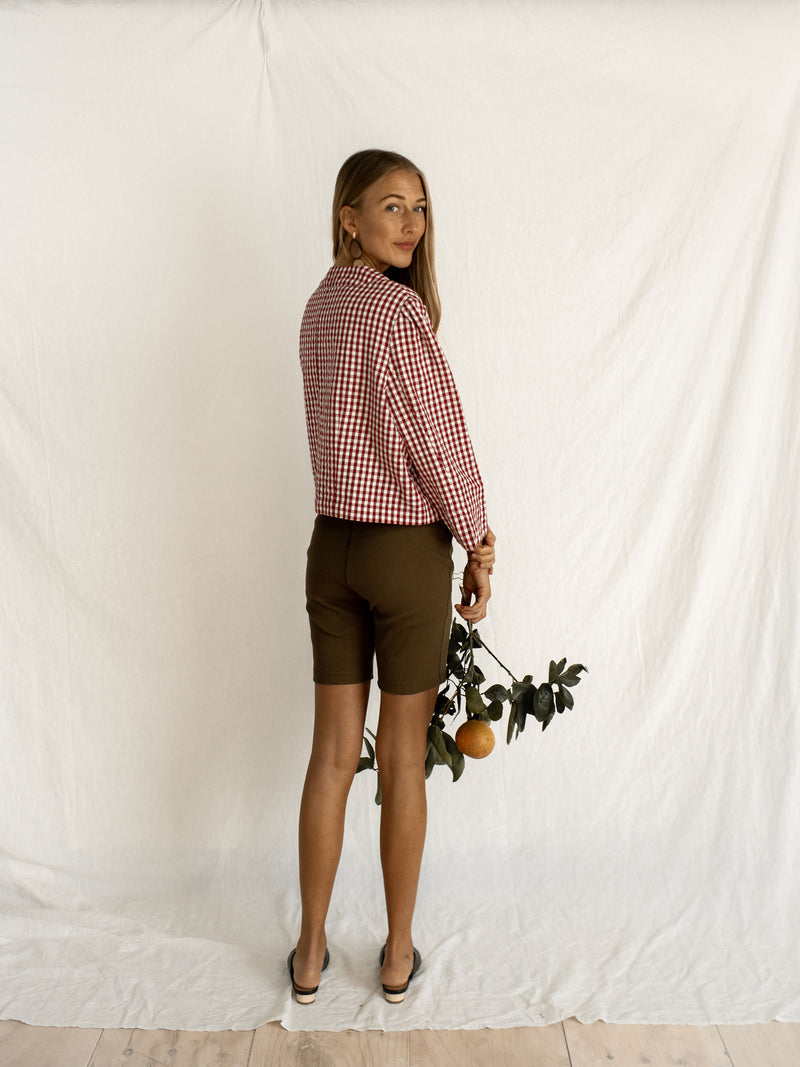 EDNA BLOUSE | WINE GINGHAM