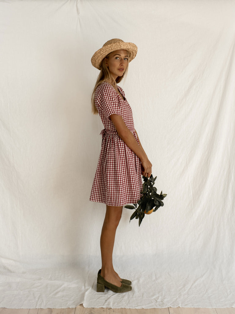 GEORGE DRESS | WINE GINGHAM