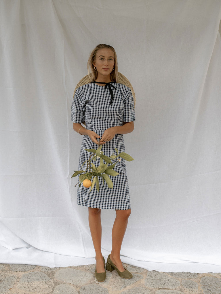 OSWIN DRESS | NAVY GINGHAM