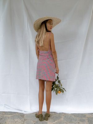 HEIDA DRESS | WINE GINGHAM