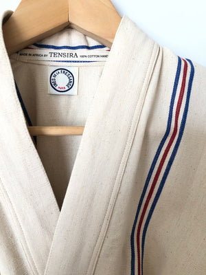 TENSIRA | KIMONO WITH WRAP CLOSURE | BLUE AND RED STRIPE