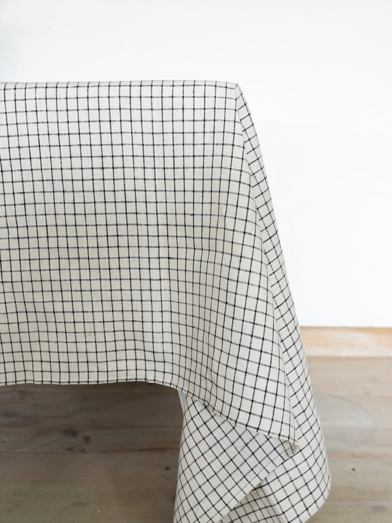Fog Linen | Linen Tablecloth | THIN STRIPE BLACK