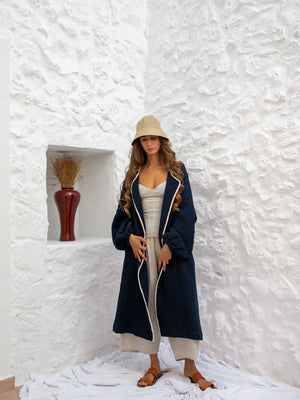 BARD ROBE JACKET | NAVY W/ NATURAL TRIM