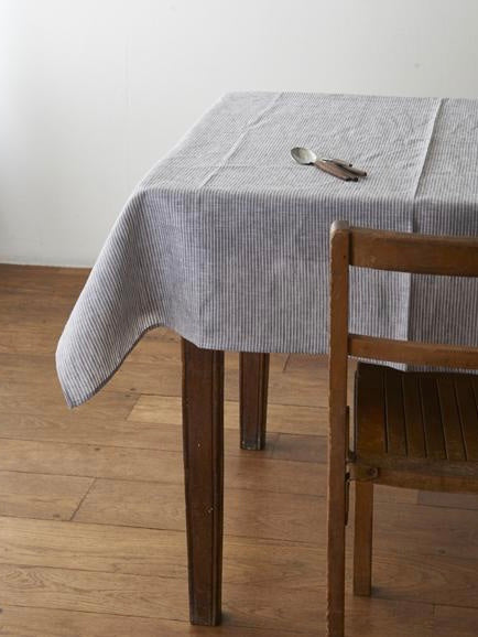 FOG LINEN | TABLE CLOTH | GREY & WHITE STRIPE