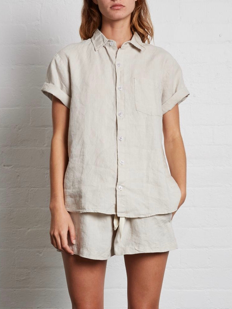 IN BED | SHORT SLEEVE SHIRT | DOVE GREY