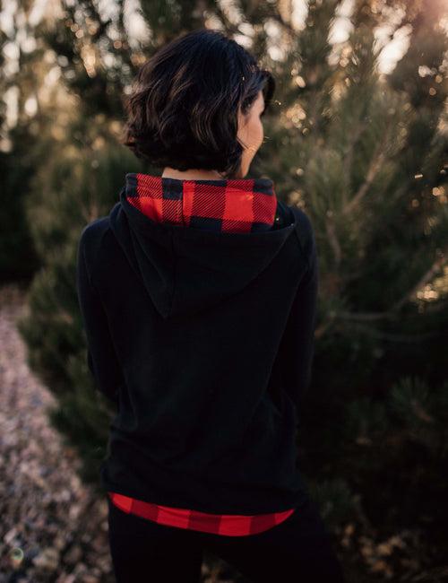 Double Hooded Black and Red Buffalo Block Sweatshirt