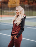 Double Hooded Burgundy and Navy Sweatshirt