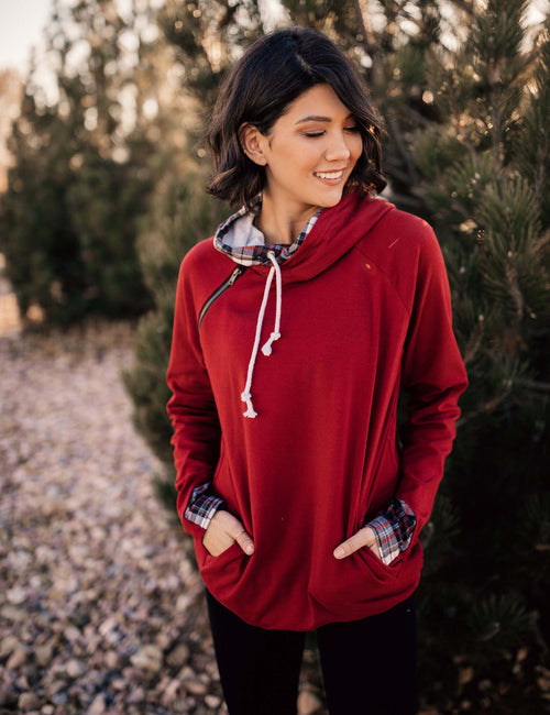 Double Hooded Red and Plaid Sweatshirt
