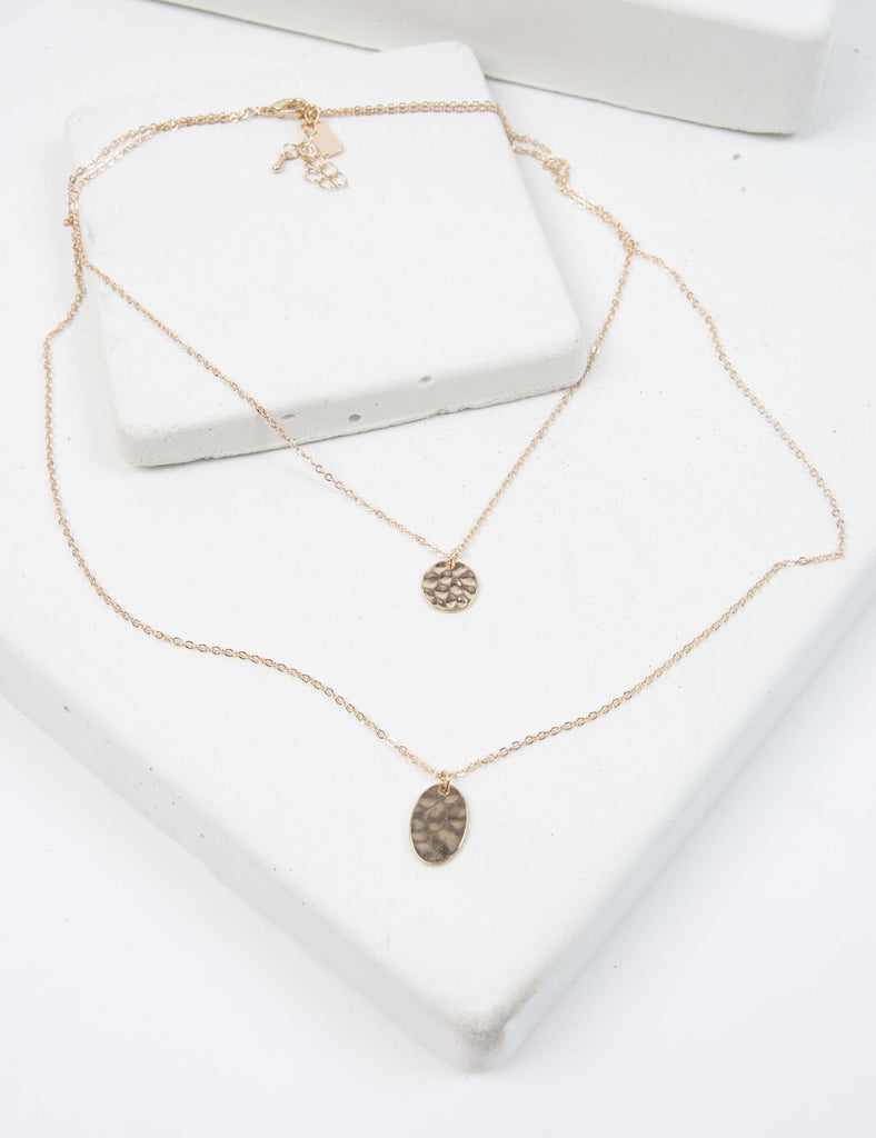 Double The Pleasure Hammered Necklace