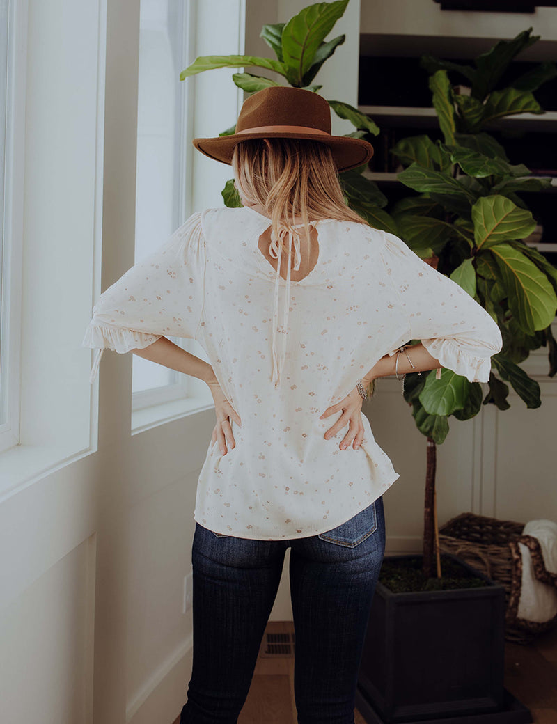 Glimpse Of Blooms Tie Top