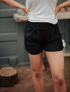 SA Exclusive Black Solid Harem Shorts