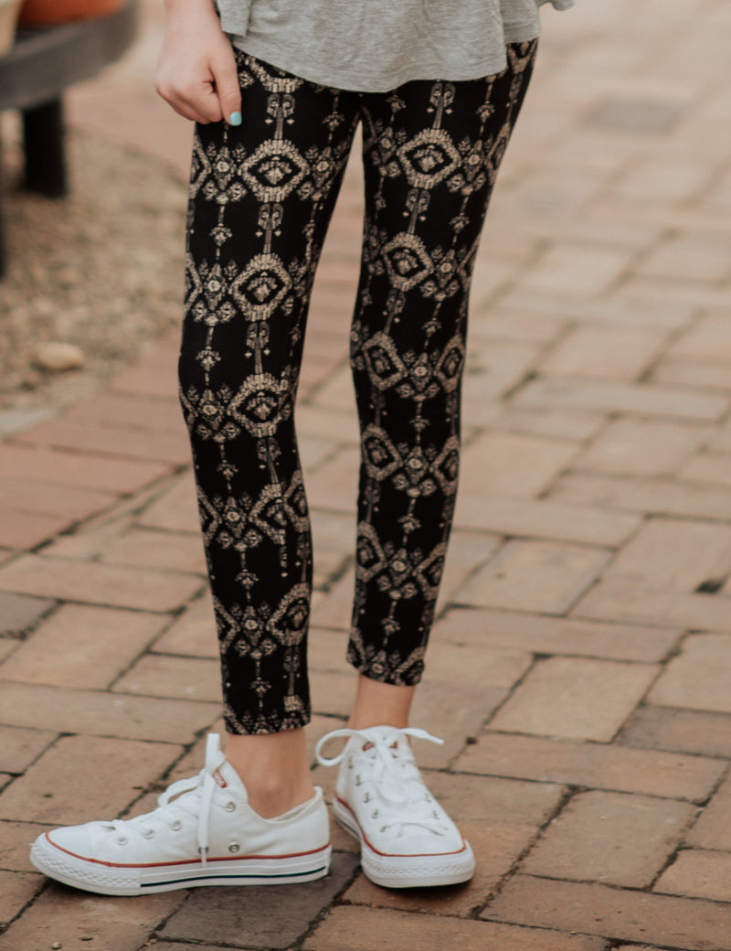 SA Exclusive Little Girl I Care About Ikat Leggings