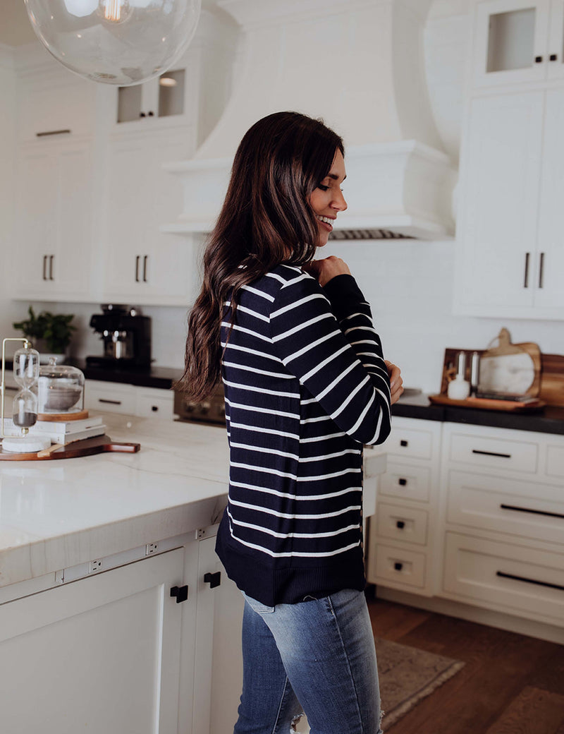 Let's Get Started Stripe Cardigan