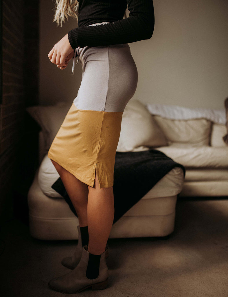SA Exclusive Mustard/Grey Midi Block Skirt