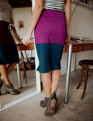 SA Exclusive Purple/Navy Midi Block Skirt