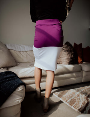 SA Exclusive Purple/White Midi Block Skirt