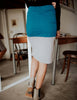 SA Exclusive Teal/Grey Midi Block Skirt