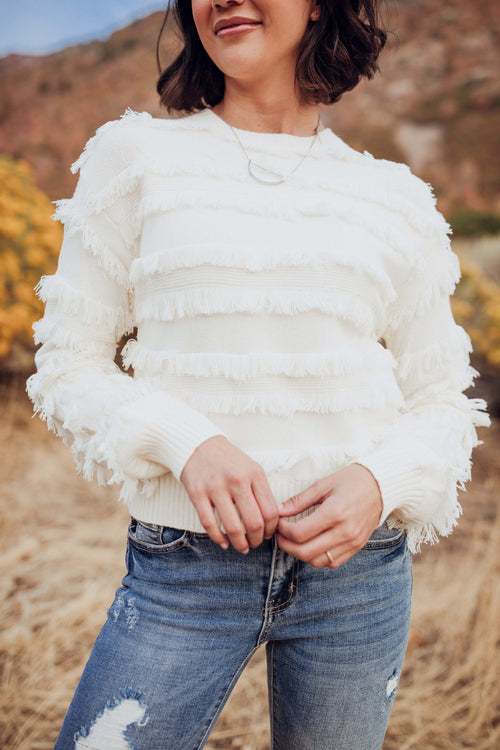 Never Too Dramatic Fringe Sweater