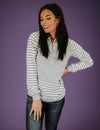 On With Stripes Hooded Top